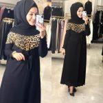 leopar desen detaylı tesettür elbise